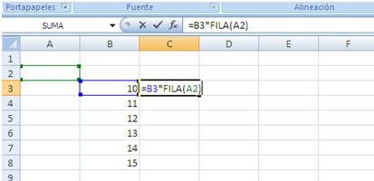 funciones fila y columna en excel