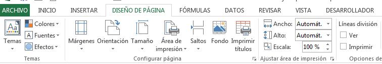 diseño de página en Excel