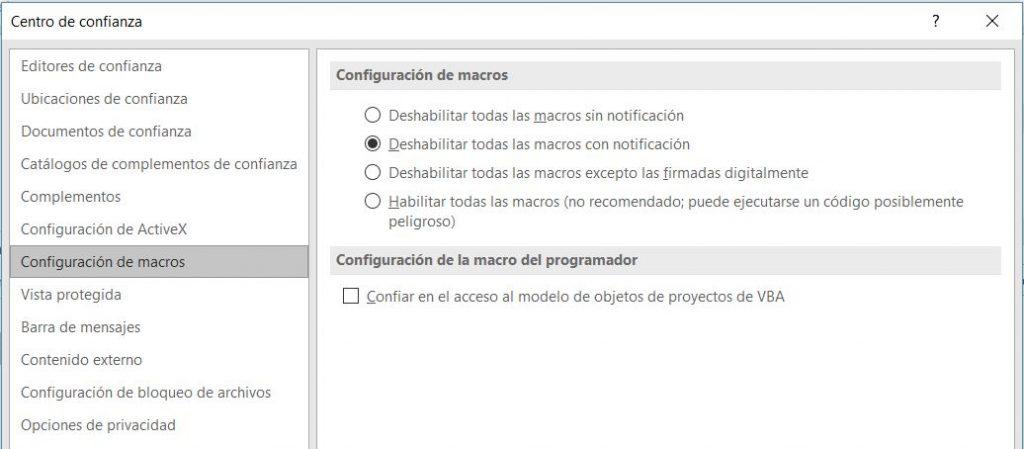 Configurar la ejecución de macros, paso 2.