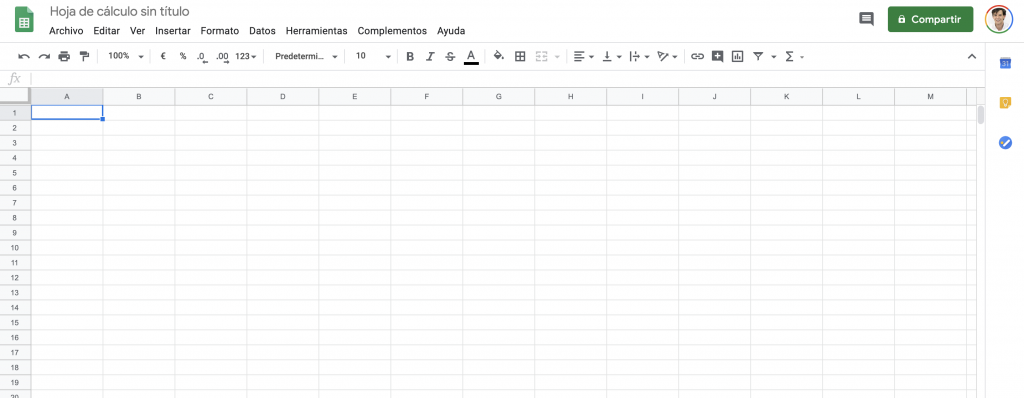 Google sheets hoja en blanco